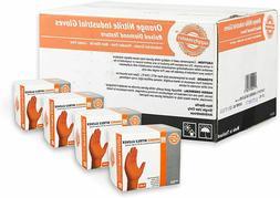 1 Case of 200 Orange Nitrile Industrial Disposable Gloves -