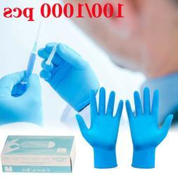 100/1000 PCS Blue Disposable Gloves Medical Nitrile Powder F