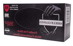 100 Pack Black Barrier Nitrile Examination Gloves. Medium si