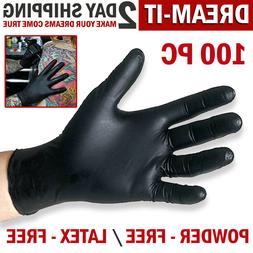 100 Black Nitrile Gloves Disposable Mechanic Food Exam Glove