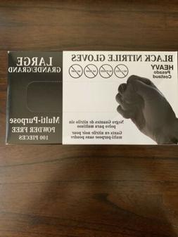 100 Black Nitrile Powder Free Gloves- LARGE-Black FREE SHIPP