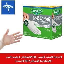 100/Bx Curad Disposable Gloves Powder Free, Soft, Flexible,