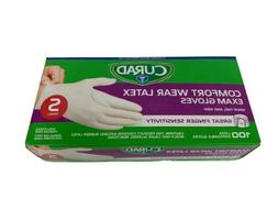 100 CURAD Comfort Wear Latex Disposable Gloves SMALL