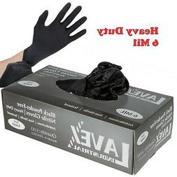 100 ct Black Powder-Free Nitrile 6 Mil Heavy-Duty Gloves -