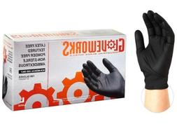 100 GLOVEWORKS Industrial Black Nitrile Gloves - 5 mil, Late