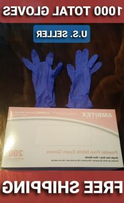 1000 blue nitrile exam gloves x small