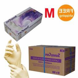 1000/cs Latex Disposable Gloves Powder Free -Size Medium 100