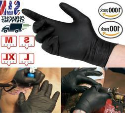 1000 Disposable Nitrile Gloves Black Slip Resistant Powder &
