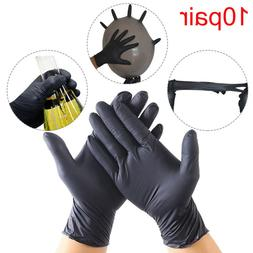 10Pair Rubber Disposable Lab Work Medical Black Nitrile Glov