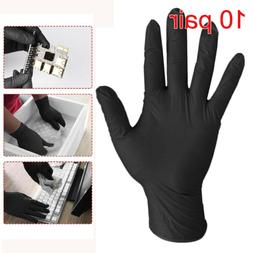 10Pair Rubber Work Nitrile Gloves Disposable Lab Medical Bla
