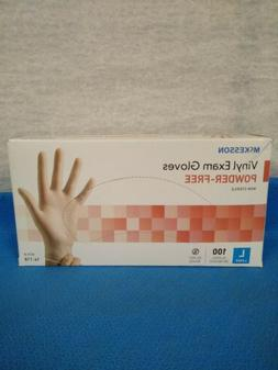 McKesson #14-118 Vinyl Exam Gloves, Powder-Free, Large, Box