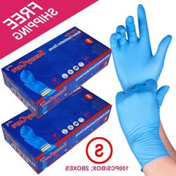 200 /2boxes Blue Nitrile Medical Exam Gloves Powder Free  --