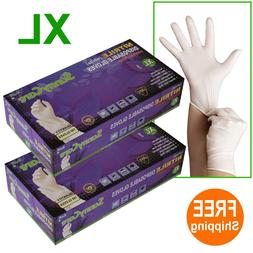 200 /2boxes White Nitrile Disposable Gloves Powder Free  --X