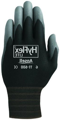 3 Pair Ansell HyFlex Lite Gloves Black/Gray Size 8 11-600-8