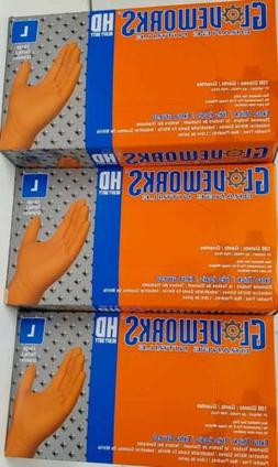 300 GLOVEWORKS L Orange Nitrile HD Industrial Disposable Glo