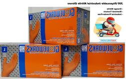 300 GLOVEWORKS L Orange Nitrile HD Industrial Disposable Glo