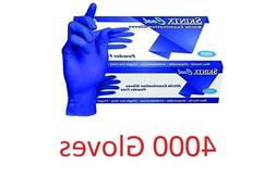 4000 SKINTX  Blue Nitrile Exam Powder Free Gloves Medium FDA