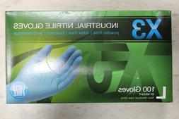 X346100 X3 Nitrile Disposable Gloves L Blue 100 pk