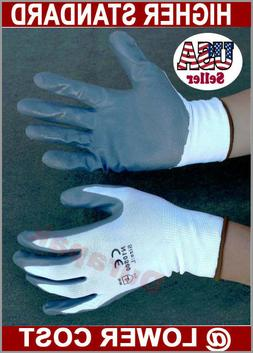 36 Pairs White Nylon Work Gloves w/ Gray Nitrile Palm Finger