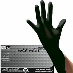 10 / 20 / 50 Black Nitrile Disposable Exam Gloves XS S M L X