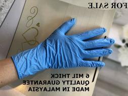 6 MIL 50/Box LIGHTLY POWDERED Textured NITRILE Gloves Blue