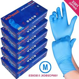 500 /5boxes Blue Nitrile Medical Exam Gloves Powder Free  --
