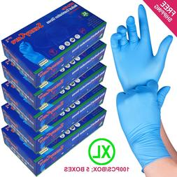 500 /5boxes Blue Nitrile Medical Exam Gloves Powder Free  --