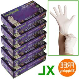 500 /5boxes White Nitrile Disposable Gloves Powder Free  --X