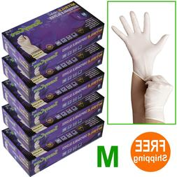 500 /5boxes White Nitrile Disposable Gloves Powder Free  --M