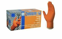 Ammex 8MIL GWON44100 Gloveworks HD Orange Nitrile Gloves