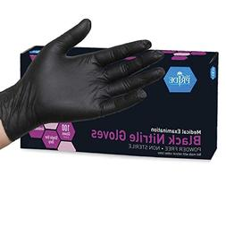 Medpride Nitrile Powder-Free Exam Gloves, Black, Small, 100