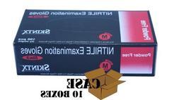 Skintx Black Nitrile Powder Free Exam Gloves Case, Medium 10