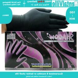 Adenna SHADOW Nitrile PF exam gloves. Sz: SMALL, Black. TATT