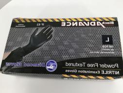 Advance Black Powder-Free Textured Nitrile Exam Gloves  Larg