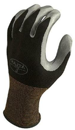 SHOWA Atlas 370BM-07 Nitrile Palm Coating Glove, Black, Medi