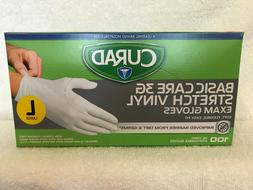 CURAD Basic Care 3G Stretch Vinyl Exam 100 Gloves LARGE- LAT