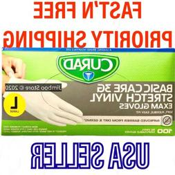 Curad Basic Care 3G Stretch Vinyl Exam Gloves Size L US Sell