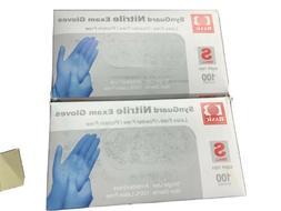 Basic Medical Blue Nitrile Exam Gloves - 2- BOXES OF 100 - S