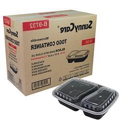 #B9732 SunnyCare 32 oz.Black 2-Compartment Rectangular Micro