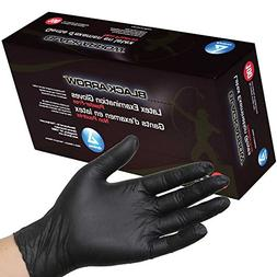 Dynarex Black Latex Exam Gloves, Powder-Free, Medium, Case/1