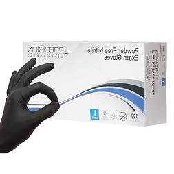 Precision Disposables Black Nitrile Exam Gloves Size Large 5