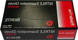 Black nitrile glove Medical grade powder free exam  Small