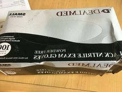 Black Nitrile Gloves Small Powder Free Latex Exam 100 Count