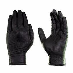 AMMEX Black Nitrile Heavy Duty Disposable Gloves - Raised Di