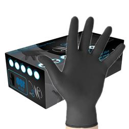 POWDER FREE Disposable Gloves  WE CARE Black Nitrile INDUSTR
