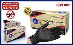 Black Nitrile Powder Free Latex Rubber Gloves Heavy Duty Dur