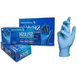 BLUE Nitrile Disposable Tattoo EXAM Food Cleaning Gloves Pow