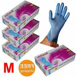 blue vinyl disposable gloves powder
