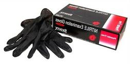 Box of 100 Skintx Nitrile Exam Powder Free Gloves, Black Lar