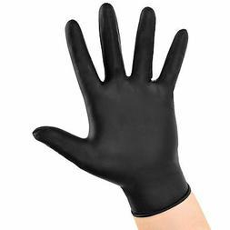Box Of 100 XL Extra Large BLACK Nitrile Powder-Free Gloves.-